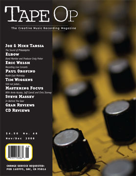 Tape Op, Issue #68 (Nov/Dec 2008)